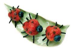¡Mariquitas de fresa y chocolate en el plato!...Recetas con fruta para Niños