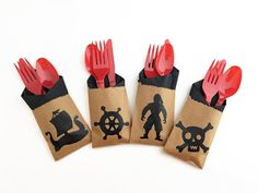 Celebrate in style with these fun pirate cutlery bag sets. Place one at each table setting for a fun addition to your pirate themed party decor! Pirate Party Favors, Pirate Party Decorations, Party Themes, Pirate Birthday, Pirate Theme, Pirate Door, Ahoy Matey, Pirates, Party Supplies