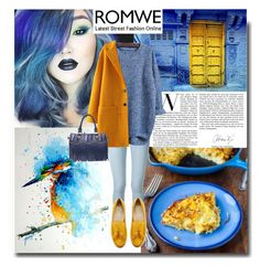 """""""Knit Blue Sweater in Romwe"""" by chixdejesus ❤ liked on Polyvore featuring Frame Denim, Cole Haan, ootd and romwe"""