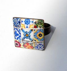 Portugal Antique Tile Replica COLLAGE Ring by Atrio on Etsy,
