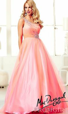 Long One Shoulder Ball Gown at PromGirl.com