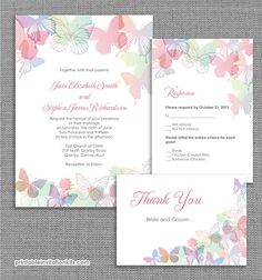 Spring Butterflies Wedding Invitation: Love is all aflutter with these butterfly wedding invites. Source: Printable Invitation Kits