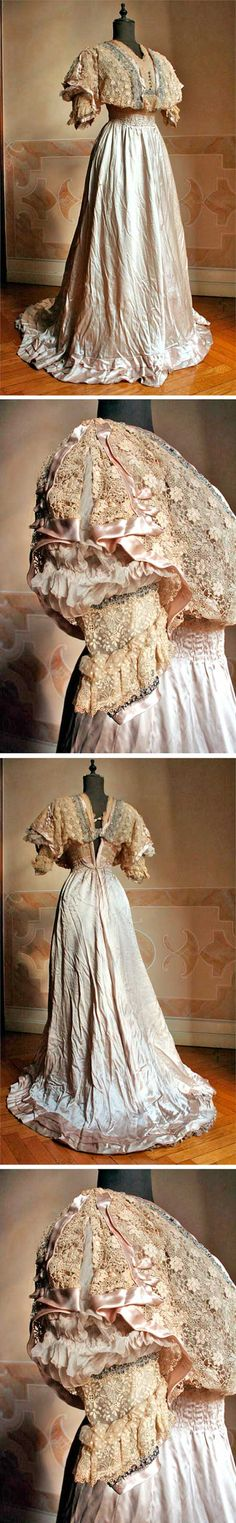 Dress, A. Civilotti Paris/Rome, 1907. Lace bodice, silk satin powder-colored skirt. Fastens in back with hooks.
