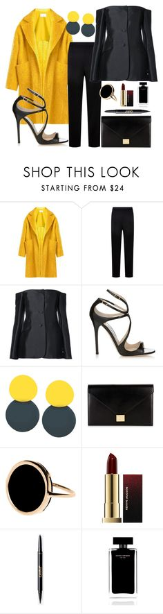 """Coldplay"" by dubldare ❤ liked on Polyvore featuring Raey, St. John, Gabriela Hearst, Jimmy Choo, Victoria Beckham, Ginette NY, Kevyn Aucoin, Narciso Rodriguez, PopsOfYellow and NYFWYellow"