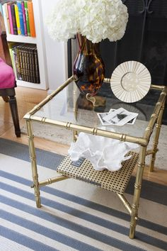 Vintage-ey faux bamboo end table
