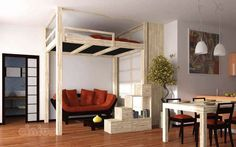 Double bed / tatami / contemporary / in wood - DOJO -  Cinius - Rises up and down