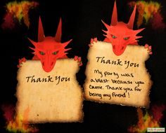 Dragon Birthday Party Thank You Cards Print At Home