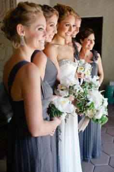 #bridesmaids in #gray Photography by leilabrewsterphotography.com, Florals by http://www.arrangementsdesign.com  Read more - http://www.stylemepretty.com/2013/09/24/palm-springs-estate-wedding-from-leila-brewster/