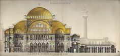 French Illustrator Revives the Byzantine Empire with Magnificently Detailed Drawings of Its Monuments & Buildings: Hagia Sophia, Great Palace & More : history Architecture Byzantine, Art Et Architecture, Classical Architecture, Historical Architecture, Architecture Illustrations, Hagia Sophia, Sainte Sophie, Roman City, Medieval World