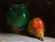 daily painting titled Pear and green vase - click for enlargement