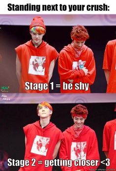 So cute, yah? Sehun is the maknae, after all. I love the looks on their faces in the second picture :P SEHUN LUHAN 😢 EXO Kaisoo, Chanbaek, Exo Ot12, Exo Memes, Funny Kpop Memes, Kdrama Memes, K Pop, Sehun And Luhan, Exo K