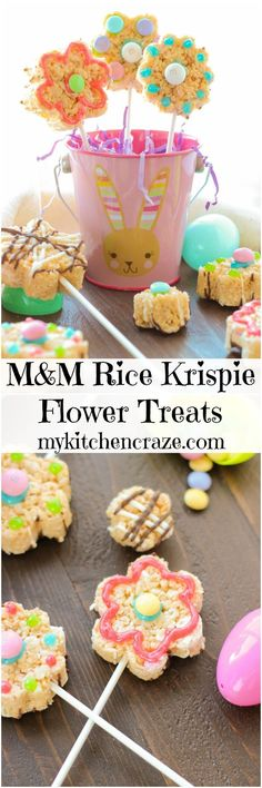 M&M's Rice Krispie Flower Treats ~ http://mykitchencraze.com ~ Enjoy these festive and delicious treats for Easter! #EasterSweets #ad