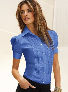 Stylish business casual nice to find a colourful easy to wear shirt for work coupled with a great pencil skirt