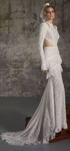 Long sleeves Boho wedding dress : Lior Charchy Fall 2018 Wedding #weddingdress #weddinggown #bridalgown #weddinggowns