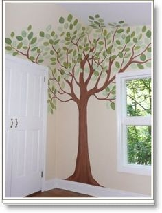 painted tree Wall Murals | pencils and sketch out a simple tree, fill it in with just a few paint ...