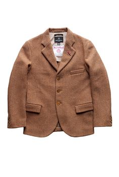 Nigel Cabourn - WIDE LAPEL HARRIS TWEED JACKET - BROWN