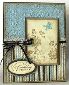 Stamps: watercolor trio  Paper: vanilla, crumb cake, soft suede, baja breeze, dsp  Ink: soft suede, baja breeze, soft suede, crumb cake  Accessories: ribbon, crochet trim, oval punches, sponge, embossing folders