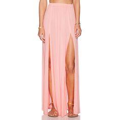 Aila Blue Pupukea Maxi Skirt Skirts ($57) ❤ liked on Polyvore featuring skirts, bottoms, maxi skirts, slit maxi skirt, floor length skirts, elastic waist skirt, long skirts and pink skirt