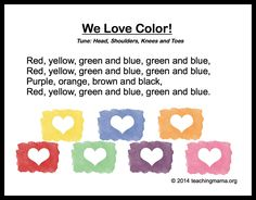 """10 Preschool Songs About Colors; I like this one will change it to use the word """"pencil"""" in Kindergarten (pass/find) Color Songs For Toddlers, Color Songs Preschool, Preschool Poems, Preschool Music, Preschool Curriculum, Color Activities, Preschool Classroom, Kids Songs, Montessori Elementary"""