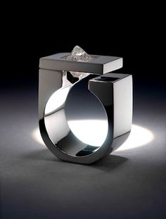 Ring | Niki Kavakonis. 'Tip of the Iceberg' Uncut Canadian octahedral diamond from the Ekati mine, and 950 palladium. Strong masculine designed ring for the man in your life - why should he be the only one who gives a diamond.