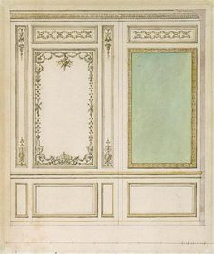 A draft for the wall woodwork for the Marie Antoinette's Méridienne room at Versailles