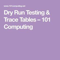 Dry Run Testing & Trace Tables – 101 Computing