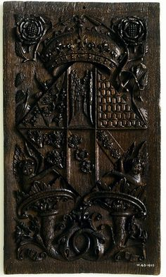 Wood panel made depicting the arms of Jane Seymour as Queen. She married Henry VIII in 1536 and their alliance is represented by the combination of Seymour family arms with those of Henry VIII. Wives Of Henry Viii, King Henry Viii, Tudor Era, Tudor Style, Tudor History, British History, Modern History, Somerset, Enrique Viii
