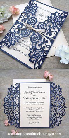 Navy and Blush Laser Cut Wedding Invitation - Glittering Navy Laser Cut Gatefold invite with Blush Pink/Pale Peach Insert and Ribbon