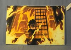 This is piece of artwork was one of #Heroes Isaac Mendez' (Santiago Cabrera) paintings of Micah in a burning building.