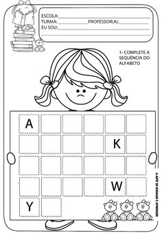 Atividades prontas - sequência do alfabeto Nursery Worksheets, Alphabet Tracing Worksheets, Handwriting Worksheets, Alphabet Activities, Preschool Worksheets, Kindergarten Activities, Activity Sheets For Kids, Fun Activities For Kids, Teaching Kids
