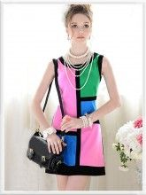 Color Block Colorful Round Neck Sleeveless Pencil Dress