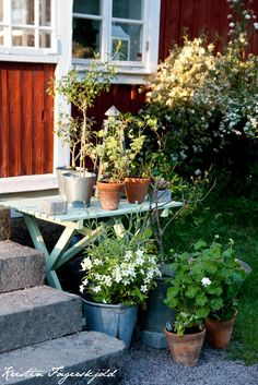 Flower pots and a simple side table make for an enticing entrance.