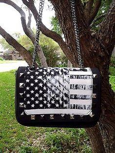 e372d341c7 Abbey Dawn By Avril Lavigne Black White Flag Shoulder Bag Purse Silver Studs