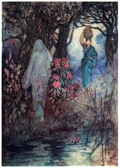 She brushed by a Sankchinni.  Warwick Goble, from Folk-tales of Bengal, by Lal Behari Day, London, 1912.  (Source: archive.org)