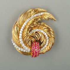 A diamond, ruby and pearl brooch and earring suite, by Kutchinsky