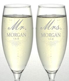 Set of 2 Personalized Wedding Champagne Flutes- Mr and Mrs Design - Engraved Flutes for Bride and Groom Gift for Customized Wedding Gift, 2016 Amazon Hot New Releases Bar Tools & Glasses #Kitchen