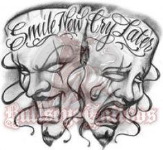 Bildergebnis für laugh now cry later Boog Tattoo, Chicanas Tattoo, Clown Tattoo, Mask Tattoo, Tattoo Blog, Tattoo Drawings, Clowns, Yen Yang, Bullseye Tattoo