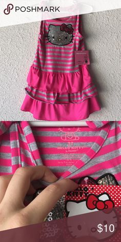 Girl's Pink and Grey Hello Kitty Dress Size 3T (NWT) Hello Kitty Dresses Casual