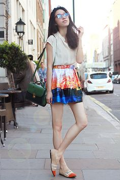 Iced Tea Flavour Skirt & Orange Shoes  (by Evian Lu) http://lookbook.nu/look/3536335-Iced-Tea-Flavour-Skirt-Orange-Shoes