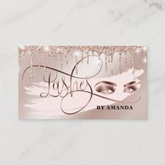 Makeup Eyebrow Eyes Lashes Rose Gold Drips Business Card Salon Business Cards, Elegant Business Cards, Business Card Design, Eyelashes, Eyebrows, Gold Drip, Gold Eyes, Rose Gold Glitter, Eyebrow Makeup