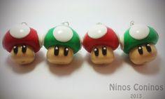 Mushrooms Mario Bros Polymer clay Hand made