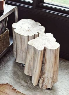 White Tree Stump Tables Living Room Pinte - White tree stump side table