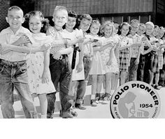In 1954, 1.8 million schoolchildren participated in the Salk polio vaccine field trials. These children, known as Polio Pioneers, were the first to be immunized with Dr. Salk's polio vaccine, provided by a March of Dimes-sponsored program. (Photo credit: March of Dimes)