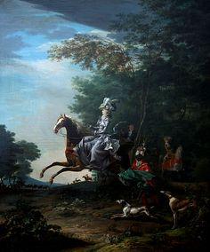 "Queen Marie Antoinette at the hunt, by Louis-Auguste Brun, called ""Brun de Versoix"", 1783.  Gods and Foolish Grandeur"