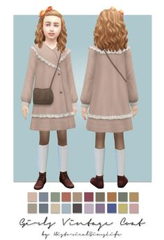 TS4: Girls Vintage Coat (single colored) | History Lover's Sims Blog