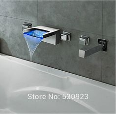 US Free Shipping Wholesale And Retail LED Chrome Finished Waterfall Bathroom Tub Faucet 5pcs Three Handles W/ Hand Shower Spray