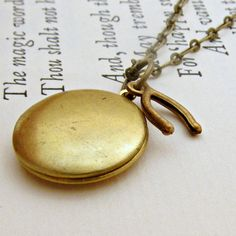 Wishbone Necklace Vintage Locket Jewelry by laurenblythedesigns, $22.00