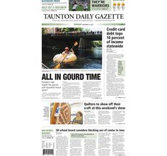 The front page of the Taunton Daily Gazette for Tuesday, Sept. 15, 2015.