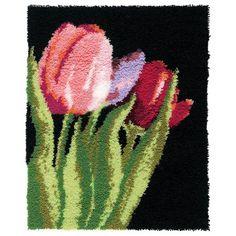 tulip flower 2016 Hook Rug Kit DIY Unfinished Crocheting Yarn Floor Mat Santa Claus Picture Carpet Set(China (Mainland))
