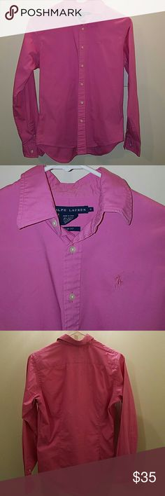 Polo pink button down Pink button down from Ralph Lauren, dress shirt.  Pearl buttons, good condition save for the spot on the right sleeve cuff, it's much more noticeable in the pic than in person.  Runs true to size Ralph Lauren Tops Button Down Shirts